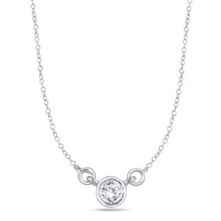 Marquee Jewels 14k White Gold 1/4ct Bezel-set Diamond Solitaire Pendant
