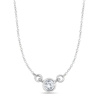 Marquee Jewels 14k White Gold 1/4ct Bezel-set Diamond Solitaire Pendant