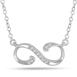 Marquee Jewels 10k White Gold 1/10 Carat Diamond Infinity Pendant (I-J, I1-I2)