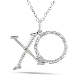 Marquee Jewels 10k White Gold 1/4ct TDW Diamond XO Pendant