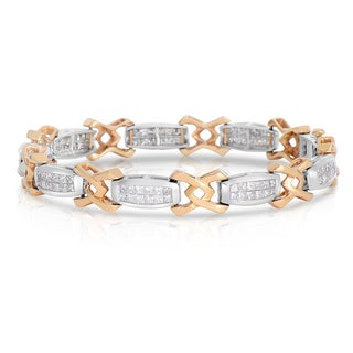 Eloquence 14k Two-tone Gold 3ct TWD Invisible Set Diamond Bracelet (H-I, I1-I2)