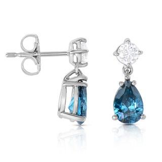 Eloquence 14k White Gold 2ct TDW Blue Diamond Dangle Earrings (Blue)