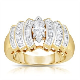 Eloquence 14k Yellow Gold 1ct TDW Marquise Cut Diamond Ring