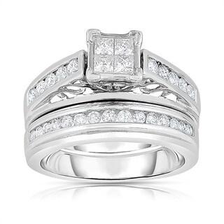 Eloquence 14k White Gold 1ct TDW Composite Bridal Ring Set (H-I, I1-I2)