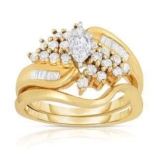 Eloquence 14k Yellow Gold 1ct TDW Marquise Cut Bridal Ring Set (H-I, I1-I2)