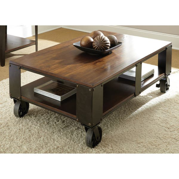 Sensational Greyson Living Baxter Oversized Distressed Medium Cherry Caster Coffee Table Creativecarmelina Interior Chair Design Creativecarmelinacom