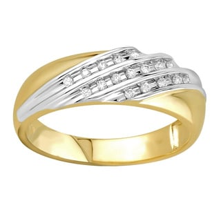 Bridal Symphony 10k Two-tone Gold Men's 1/6ct TDW Ring (I-J, I2-I3)