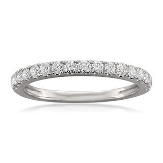 Montebello 14k White Gold 1/2ct TDW Round-cut Diamond Wedding Band
