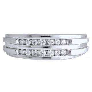 Bridal Symphony Sterling Silver Men's 1/6ct TDW Diamond Ring (I-J, I1-I2)