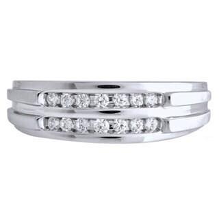 Bridal Symphony Sterling Silver Men's 1/6ct TDW Diamond Ring