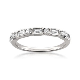 Montebello 14k White Gold 1/2ct TDW Diamond Wedding Band (G-H, VS1-VS2)