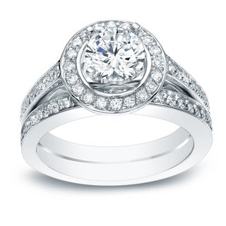 Auriya 14k White Gold 1 1/2ct TDW Certified Diamond Bridal Ring Set