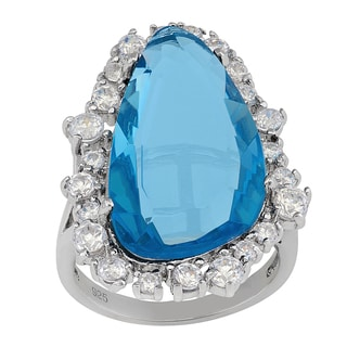 Gioelli Sterling Silver Simulated Aquamarine Cubic Zirconia Ring