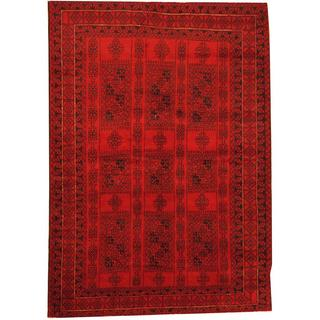 Herat Oriental Afghan Hand-knotted Semi-Antique Tribal Balouchi Red/ Navy Wool Rug (6'2 x 8'8)