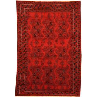 Herat Oriental Afghan Hand-knotted Semi-Antique Tribal Balouchi Red/ Navy Wool Rug - 6'1 x 8'10