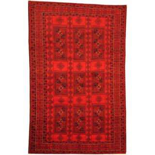 Herat Oriental Afghan Hand-knotted Semi-Antique Tribal Balouchi Red/ Navy Wool Rug (6'3 x 9'9)