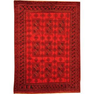 Herat Oriental Afghan Hand-knotted Semi-Antique Tribal Balouchi Red/ Navy Wool Rug (6'9 x 9'5)