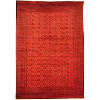 Herat Oriental Afghan Hand-knotted Semi-Antique Tribal Balouchi Red/ Navy Wool Rug (6'11 x 9'10)