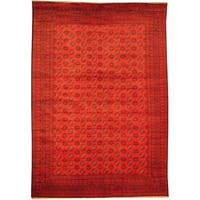 Herat Oriental Afghan Hand-knotted Semi-Antique Tribal Balouchi Red/ Navy Wool Rug (6'11 x 9'10) - 6'11 x 9'10