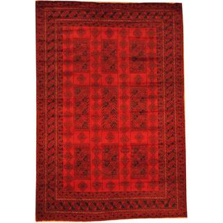 Herat Oriental Afghan Hand-knotted Semi-Antique Tribal Balouchi Red/ Navy Wool Rug (6'9 x 9'11)