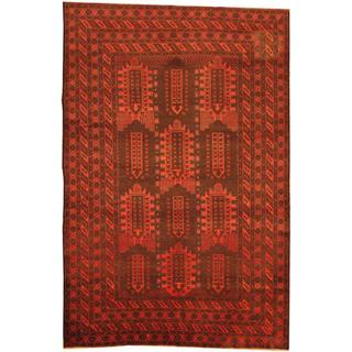 Herat Oriental Afghan Hand-knotted Semi-Antique Tribal Balouchi Navy/ Rust Wool Rug (6'4 x 9'5)