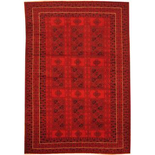 Herat Oriental Afghan Hand-knotted Semi-Antique Tribal Balouchi Red/ Navy Wool Rug (6'8 x 9'8)