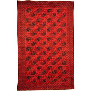 Herat Oriental Afghan Hand-knotted Semi-Antique Tribal Balouchi Red/ Navy Wool Rug (7'1 x 11'4)