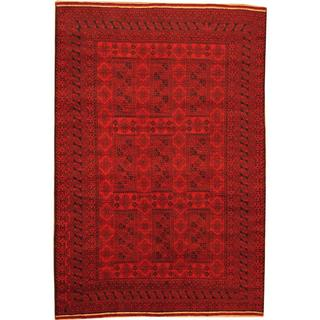 Herat Oriental Afghan Hand-knotted Semi-Antique Tribal Balouchi Red/ Navy Wool Rug (6'6 x 9'7)