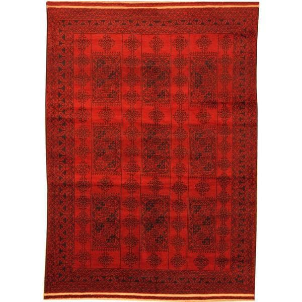 Herat Oriental Afghan Hand-knotted Semi-Antique Tribal Balouchi Red/ Navy Wool Rug (6'3 x 8'7)