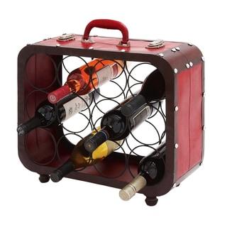 Casa Cortes Suitcase 12-bottle Barware Metal Wine Holder Rack