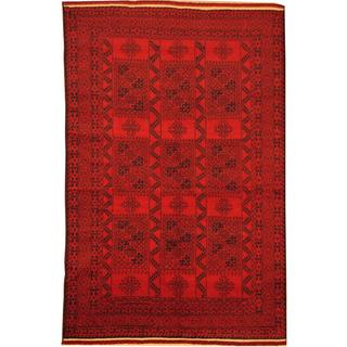 Herat Oriental Afghan Hand-knotted Semi-Antique Tribal Balouchi Red/ Navy Wool Rug (6'1 x 9'6)