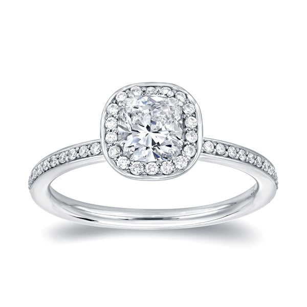 Auriya 18k White Gold 4/5ct TDW Cushion Halo Diamond Engagement Ring