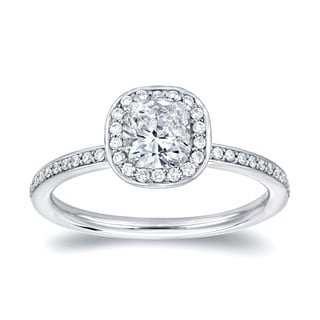 Auriya 18k White Gold 4/5ct TDW Cushion Halo Diamond Engagement Ring