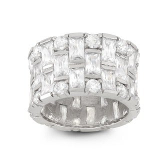 Gioelli Sterling Silver Cubic Zirconia Wide Band Ring