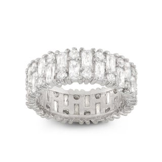 Gioelli Sterling Silver Round Ring With White Cubic Zirconia (More options available)