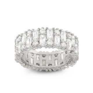 Gioelli Sterling Silver Round Ring With White Cubic Zirconia