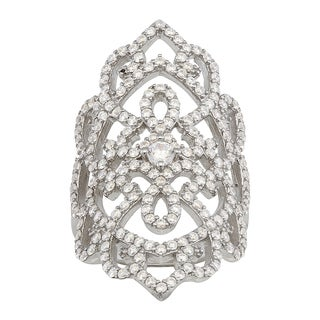Gioelli Sterling Silver Cubic Zirconia Vintage-style Ring