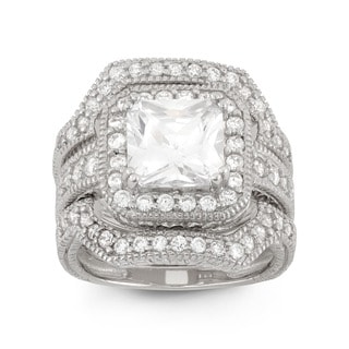Gioelli Sterling Silver Cubic Zirconia Bridal Ring Set