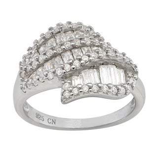 Gioelli Sterling Silver Cubic Zirconia Contemporary Wave Ring