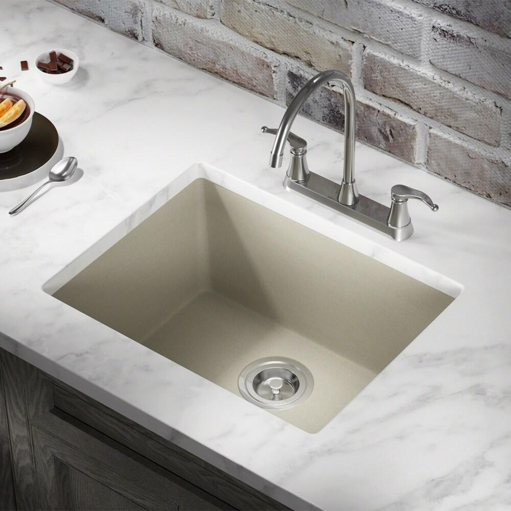 MR Direct 808 TruGranite Single Bowl Kitchen Sink (Black)
