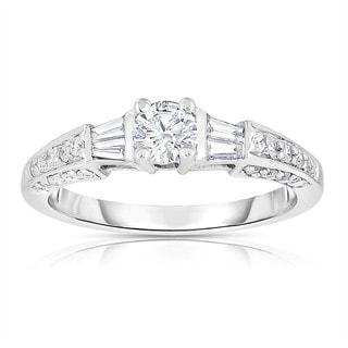 Eloquence 14k White Gold 3/4ct TDW Solitaire Brilliant Diamond Engagement Ring (H-I, I1-I2)