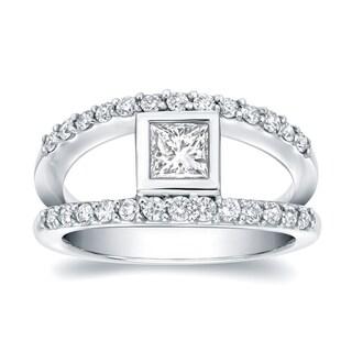 Auriya 14k White Gold 1ct TDW Princess Bezel Diamond Ring