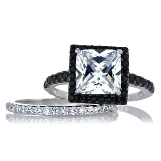 Princess Cut CZ Wedding Ring Set - Black and White