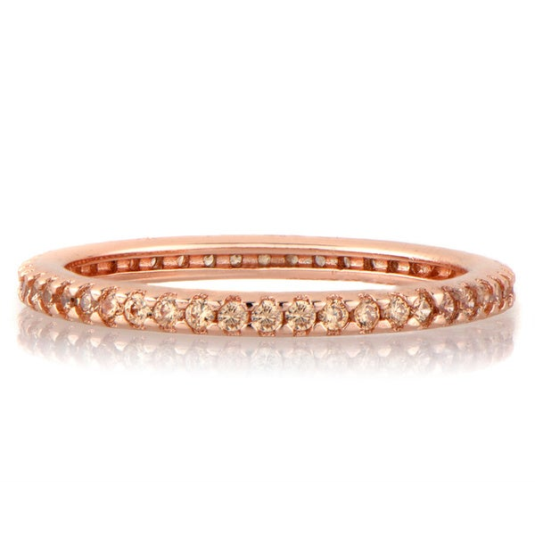 Rose Goldtone Sterling Silver Peach Cubic Zirconia Ring
