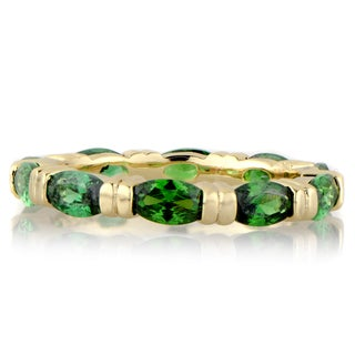 Emerald Marquise Cut CZ Gold Eternity Band