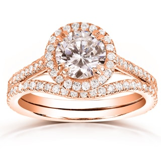 Annello by Kobelli 14k Rose Gold 1 1/2ct TDW Round-cut Halo Diamond Bridal Rings Set