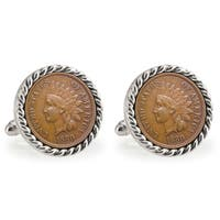 American Coin Treasures Silvertone USC 1880 Rope Bezel Penny Cuff Links