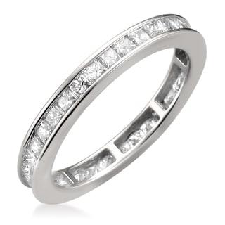 Montebello 14k White Gold 1 3/8ct TDW Princess-cut Diamond Eternity Ring