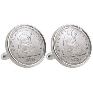 American Coin Treasures University of Oregon 1876 Sterling Silver Dime Cuff Links