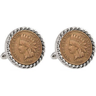 American Coin Treasures LSU 1860 Silvertone Rope Bezel Penny Cuff Links